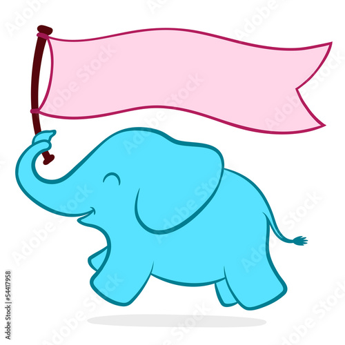 Photo  Cute little elephant with a banner