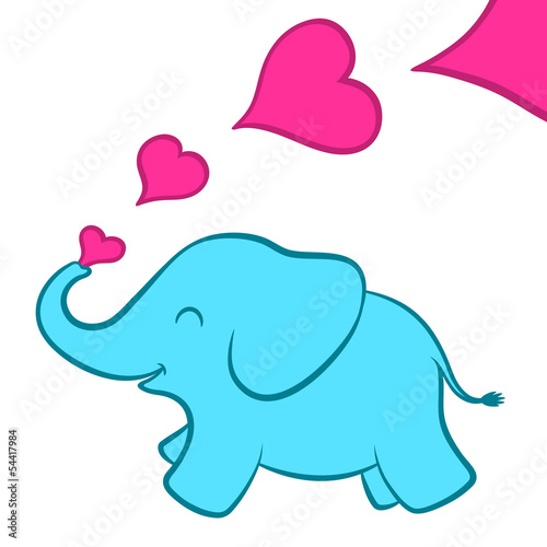 Baby elephant calf with pink hearts Poster