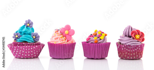 Fotografie, Obraz  Purple and pink cupcakes