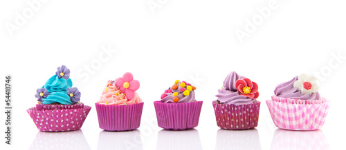 Photo  Purple and pink cupcakes
