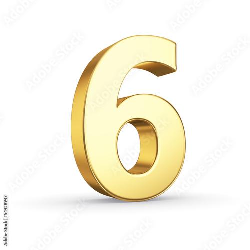 Photographie  3D nombre d'or 6 - isolé avec un tracé de détourage
