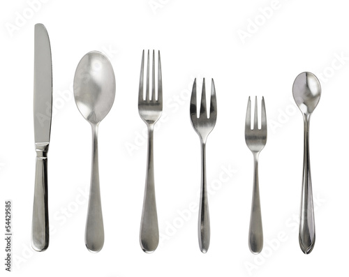 Fotografie, Obraz  Set of steel metal table cutlery