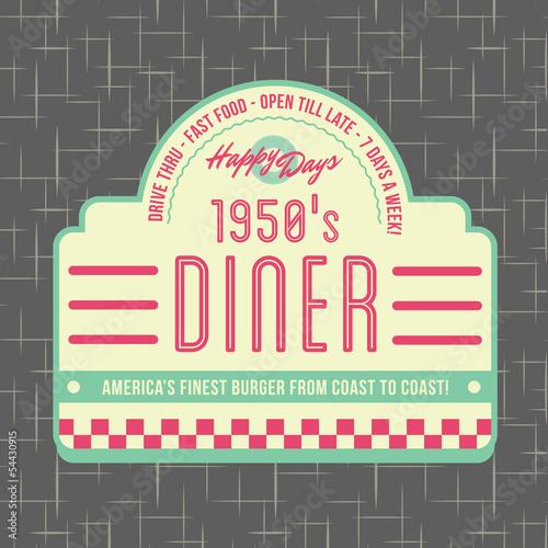 1950s Diner Style Logo Design Canvas Print