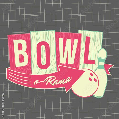 1950s Bowling Style Logo Design Wallpaper Mural