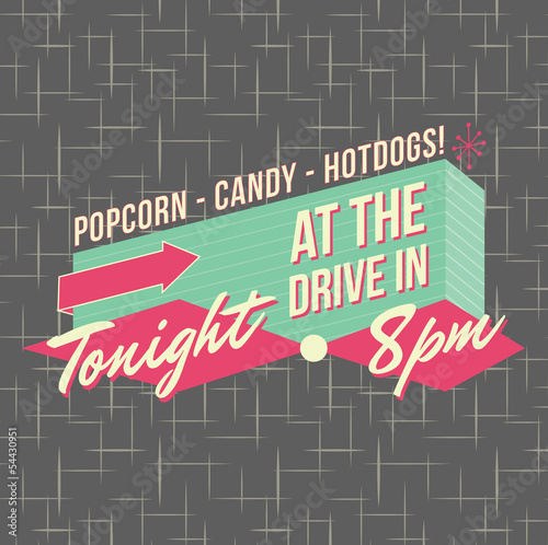 1950s Drive-In Style Logo Design Canvas Print