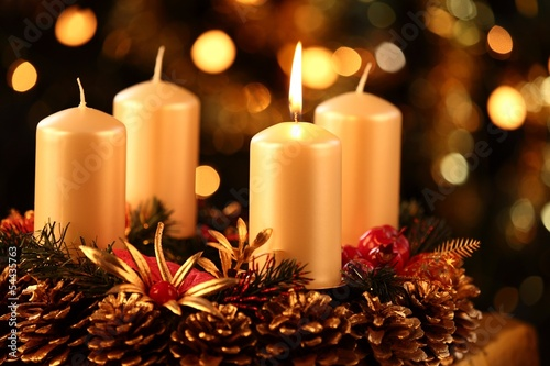 Photographie  Advent wreath with one candle lit