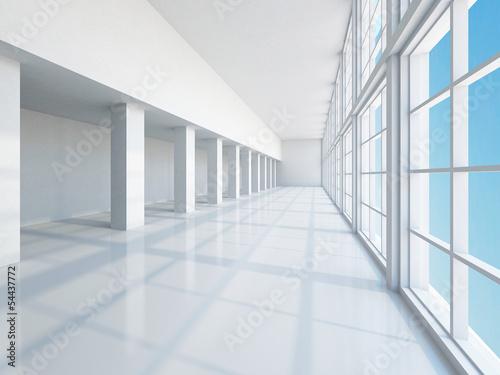 Staande foto Industrial geb. The empty long corridor