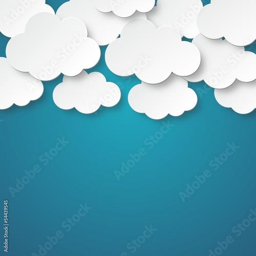 Fototapeta Chmury z kartonu na niebieskim tle na wymiar