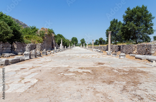 Fotografering  Harbor street (Arcadian Avenue) in ancient Ephesus, Turkey