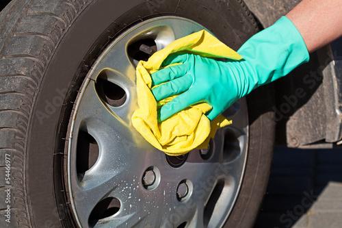 Fotografie, Obraz  Car wheel cleaning