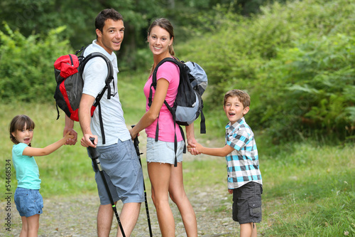 Fotografie, Obraz  Family on a trekking day in countryside