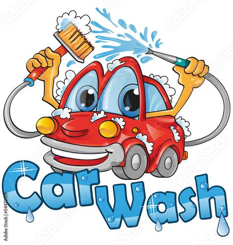 Staande foto Cartoon cars car wash service