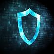 Safety concept: Contoured Shield on digital background