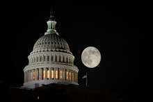 US Capitol Building  With Full Moon At Night - Washington DC, USA