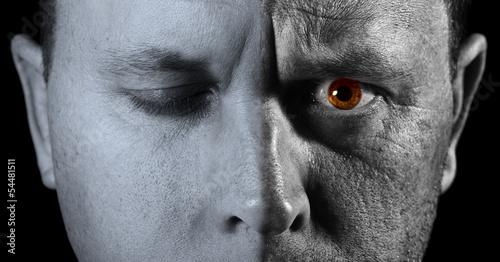 Fényképezés  Face of man closeup with different textures