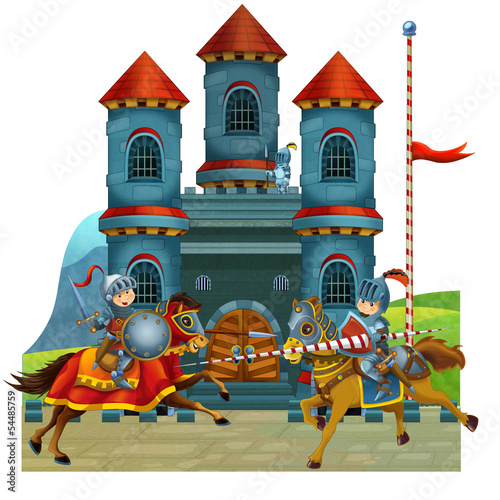 Spoed Foto op Canvas Ridders The cartoon medieval illustration for the children