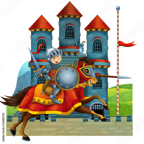 Foto auf Gartenposter Ritter The cartoon medieval illustration for the children