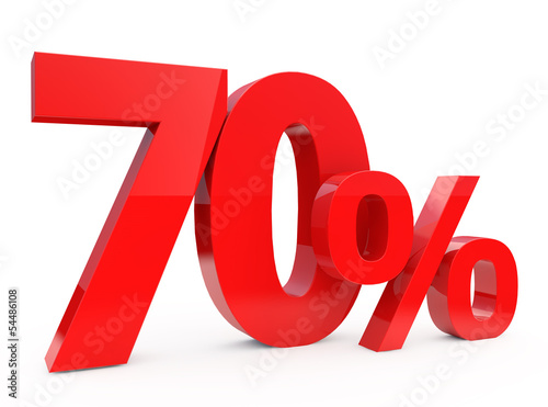 70 percent - 3d red Discount 70% Poster