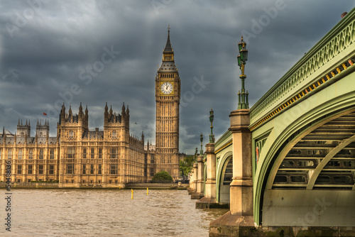 Fototapety, obrazy: London. Wonderful view of Westminster bridge with Big Ben and Ho
