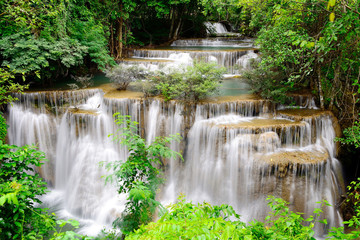Obraz na SzkleWaterfall in tropical forest in Thailand