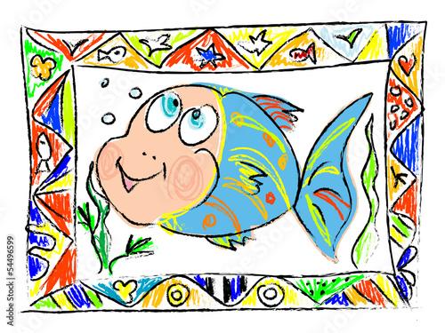 Doodle fish Tablou Canvas