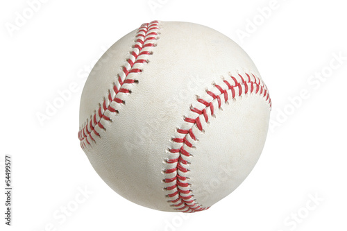 Baseball isolated on white with clipping path Wallpaper Mural