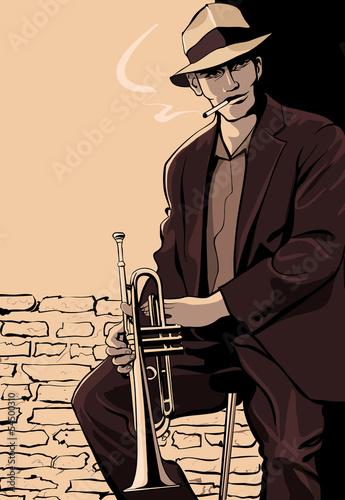 Staande foto Muziekband Trumpet player