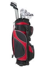 Red And Black Golf Bag With Cl...