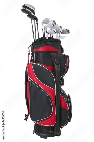 Deurstickers Golf Red and black golf bag with clubs isolated on white