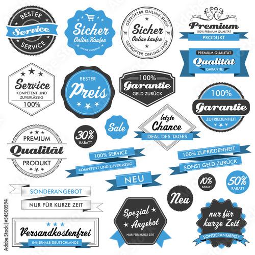Fotografía  Button Siegel Premium Set Angebot Sale Service Shop Logo blau