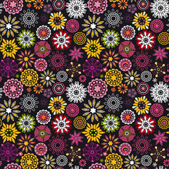 Floral seamless pattern with flowers. Copy square to the side an
