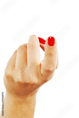 Photo  Female index finger crooked reckoning come over here