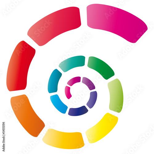 Bunte Spirale mit leuchtenden Farben, Farbverlauf, Logo