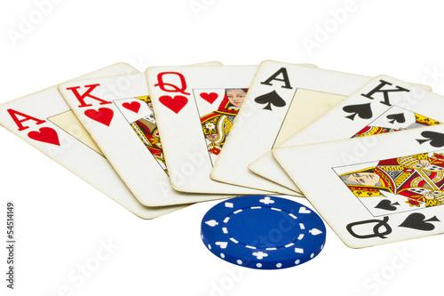 gambling items isolated on white плакат