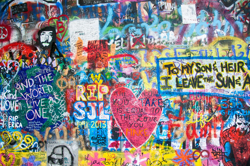 Foto op Aluminium Graffiti Colorful John Lennon wall in Prague