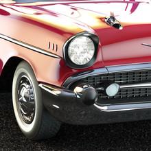 Vintage Luxury Car Close-up 3d Illustration