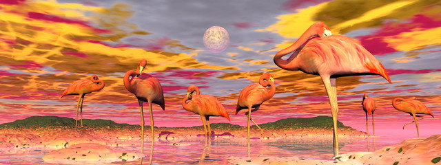 Obraz na Plexi Flamingos by sunset - 3D render