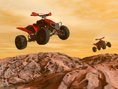 Fototapeta na wymiar Quads in the desert - 3D render