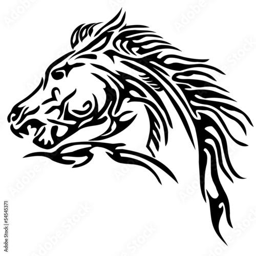 Fototapety, obrazy: tribal horse tattoo