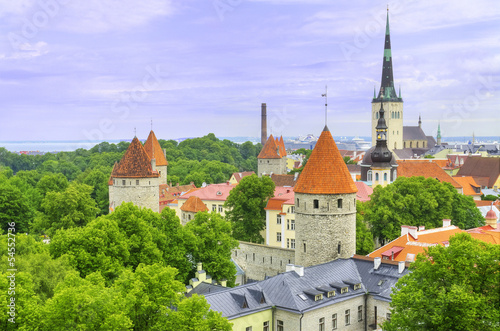 Aerial view of the old medieval city of Tallinn, Estonia Poster