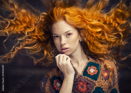 Canvas Print red-haired girl