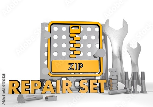 3d graphic of a mechanical zip file symbol repair set - Buy