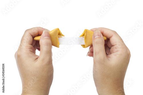 Deurstickers Koekjes fortune cookie held open to blank fortune