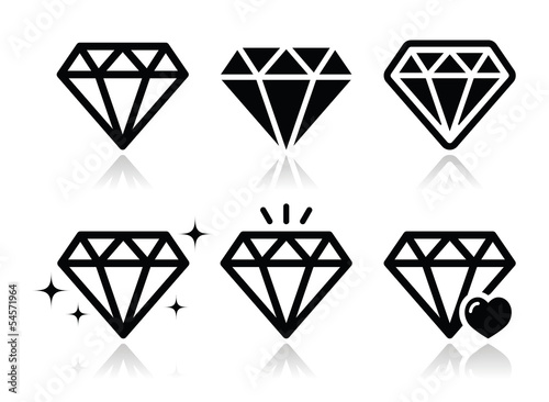 Diamond vector icons set Poster Mural XXL