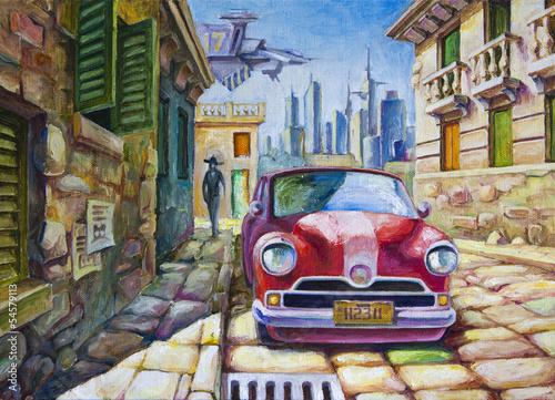 stary-czerwony-samochod-na-slonecznej-ulicy
