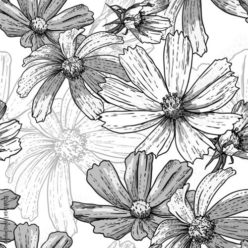 bezszwowe-tlo-czarno-biale-tlo-kwiatowy