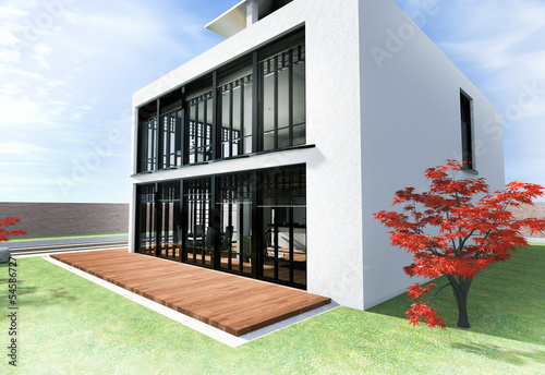 Haus Mit Dachterrasse In Weiss Buy This Stock Illustration And