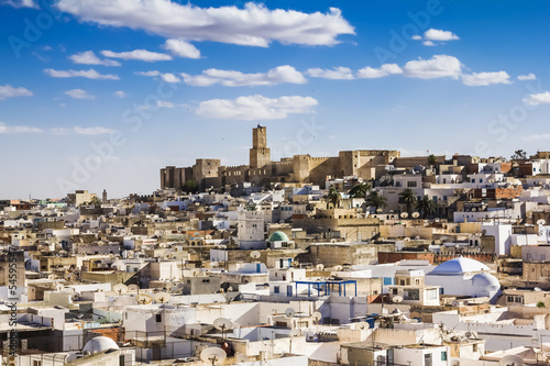 Photo sur Aluminium Tunisie View of the Medina and the castle kasbah of Tunisia in Sousse.