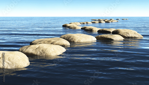 path of stones on the water