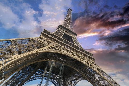 Fototapeta Tour Eiffel, Wideangle Street view, Paris, France obraz na płótnie